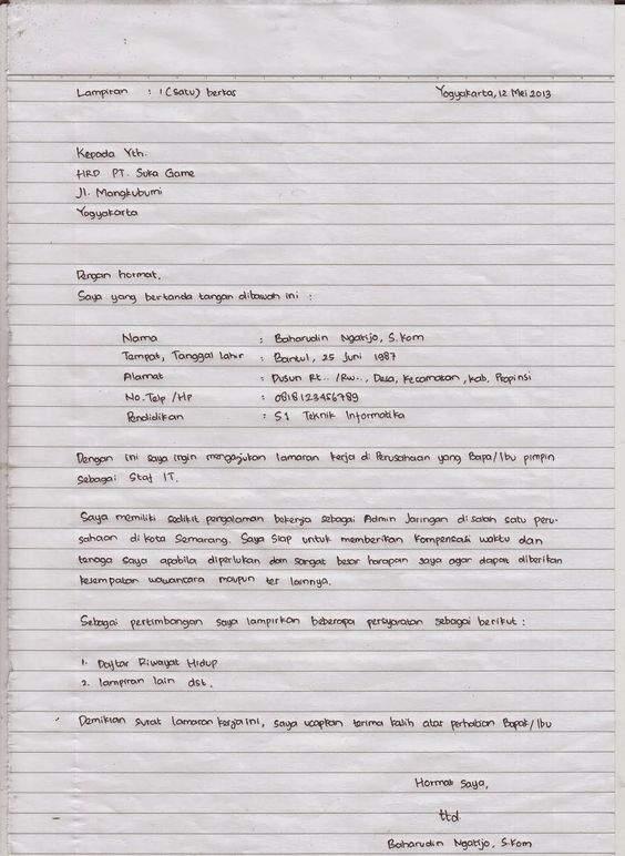 surat lamaran ditulis tangan