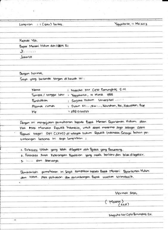aplikasi lamaran kerja yang ditulis tangan