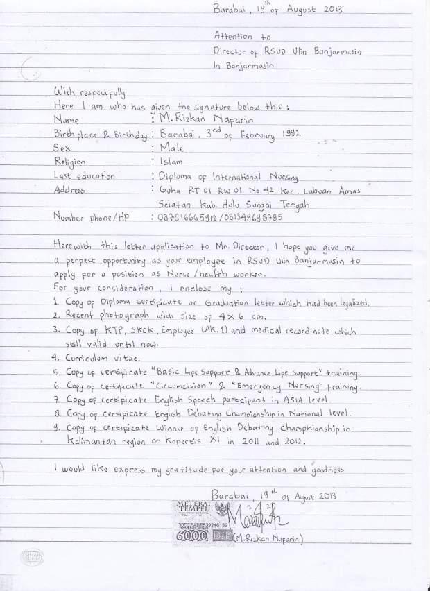 contoh surat lamaran kerja yang ditulis tangan terbaik